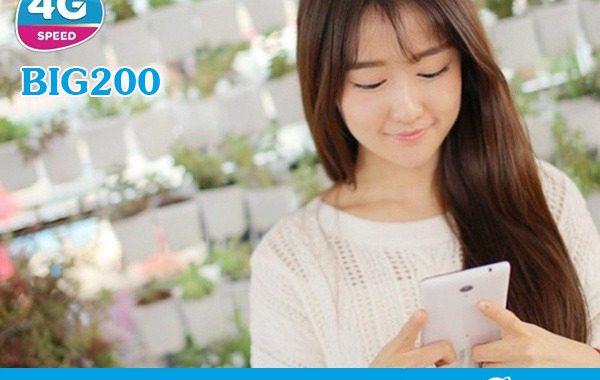 Đăng ký gói BIG200 Vinaphone nhận 22GB DATA cả tháng giá 200.000đ