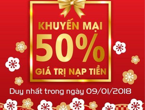 Hôm nay 9/1 MobiFone khuyến mãi 50% giá trị thẻ nạp