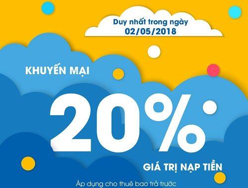 Hôm nay 02/05 MobiFone khuyến mại 20% giá trị thẻ nạp