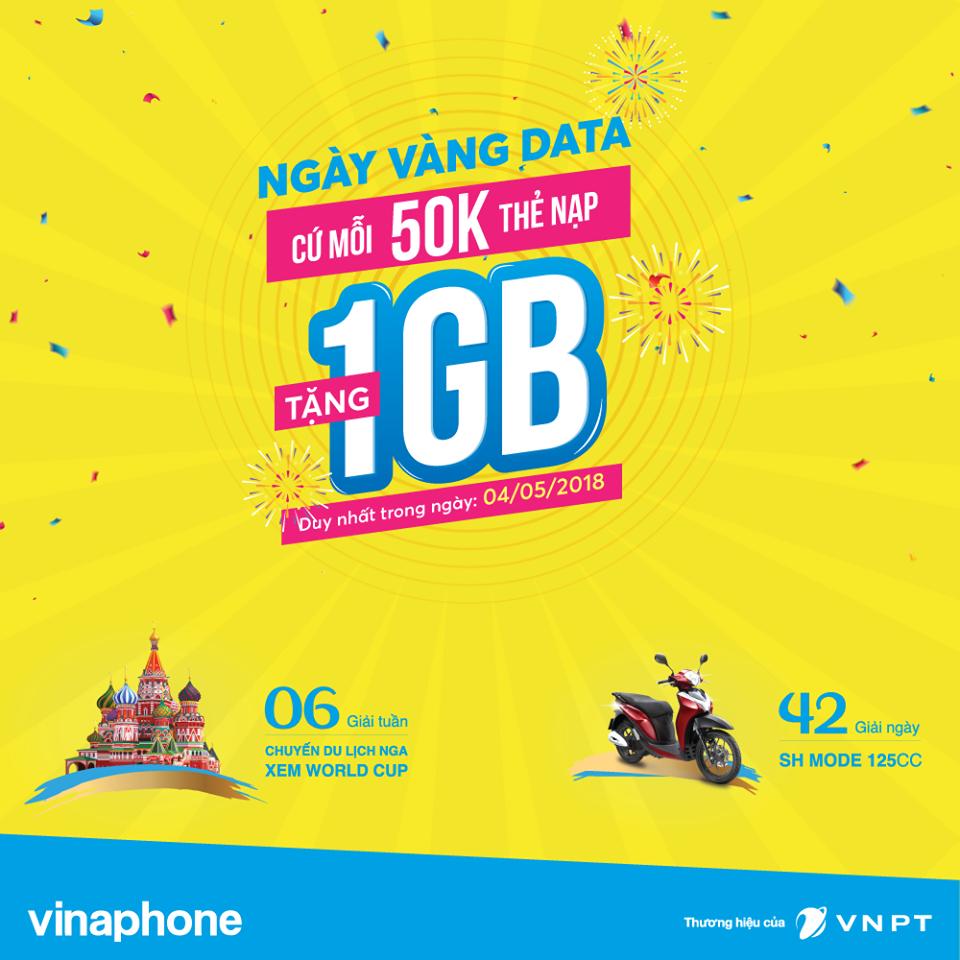 VinaPhone tặng data cho khách hàng nạp thẻ trong ngày 04/05/2018