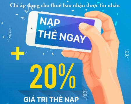 Khuyến mãi 20% giá trị thẻ nạp Vinaphone ngày 12/06/2018