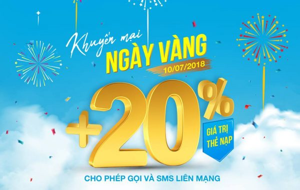 Vinaphone khuyến mãi 20% giá trị thẻ nạp ngày 10/7/2018
