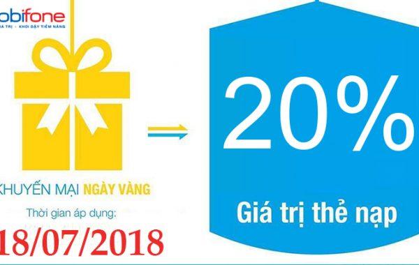 Mobifone khuyến mãi ngày vàng tặng 20% thẻ nạp 18/07/2018