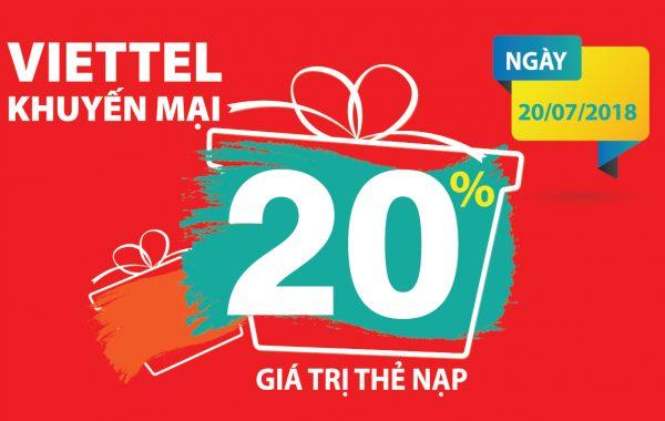 Ngày mai 20/7 Viettel khuyến mại 20% giá trị thẻ nạp