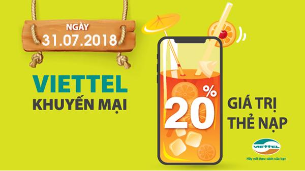 Viettel khuyến mại 20% giá trị thẻ nạp ngày 31/7