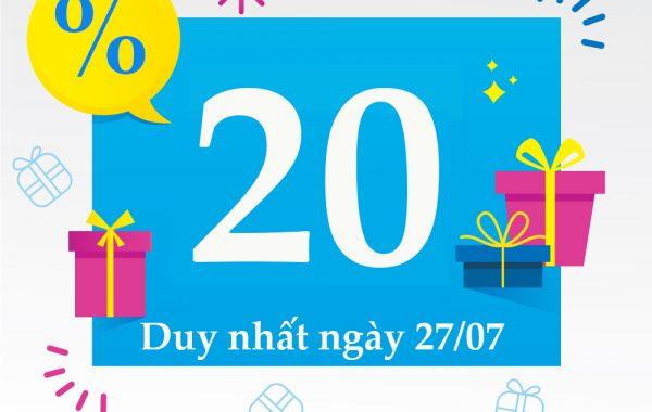 Vinaphone khuyến mãi 20% giá trị thẻ nạp ngày 27/07/2018