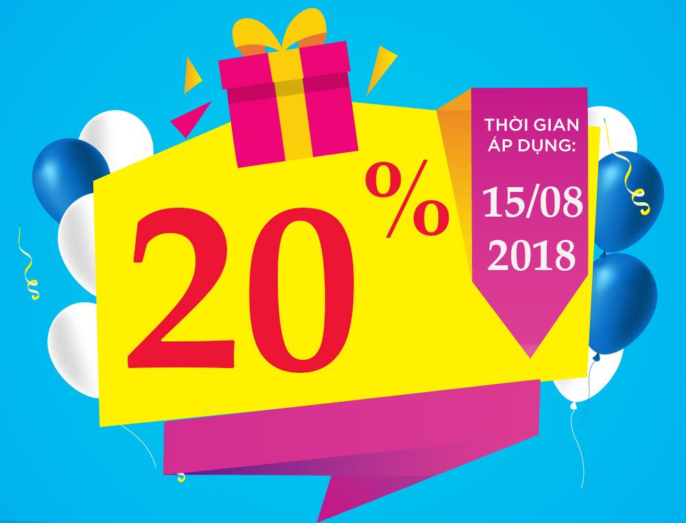 Vinaphone khuyến mãi tặng 20% giá trị thẻ nạp ngày 15/08/2018