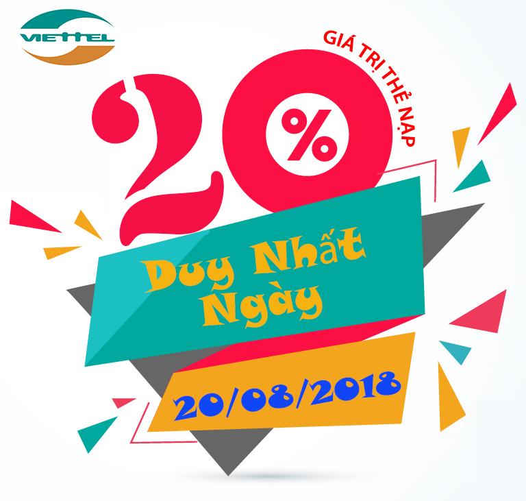 Viettel khuyến mãi tặng 20% giá trị thẻ nạp ngày 20/08/2018