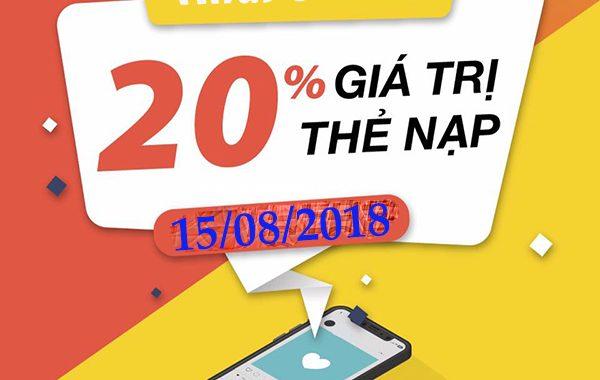 Mobifone khuyến mãi 20% thẻ nạp ngày vàng 15/8/2018