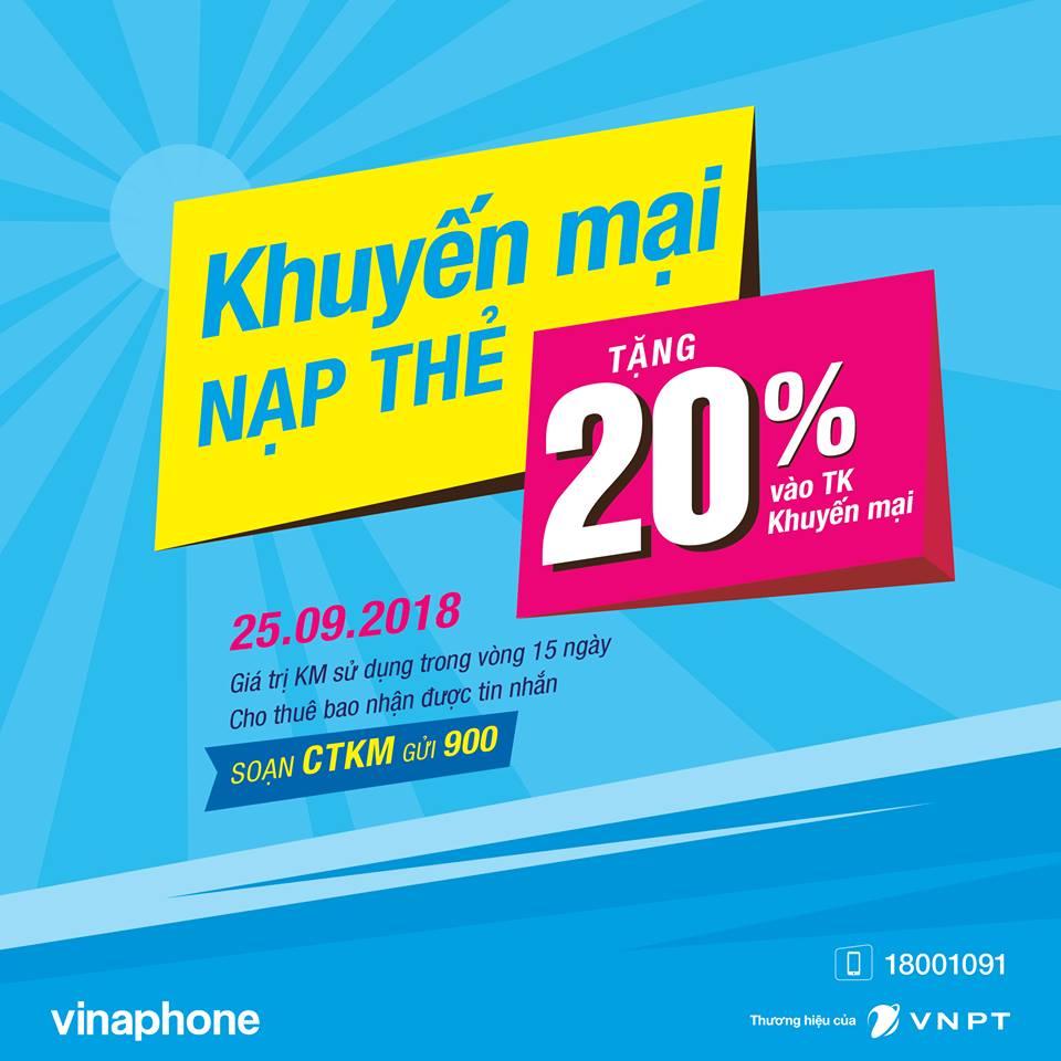 Vinaphone khuyến mãi 20% giá trị thẻ nạp ngày 25/9/2018