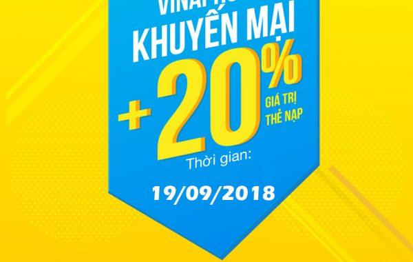 Vinaphone khuyến mãi 20% giá trị thẻ nạp ngày vàng 19/9/2018