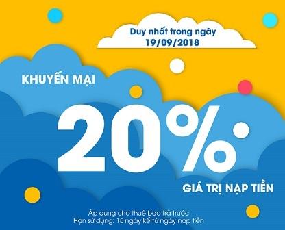 MobiFone khuyến mại 20% giá trị thẻ nạp ngày mai 19/9/2018