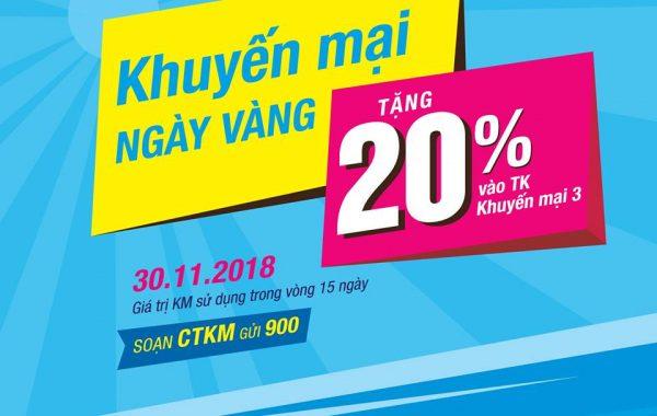 Vinaphone khuyến mãi 20% giá trị thẻ nạp ngày 30/11/2018