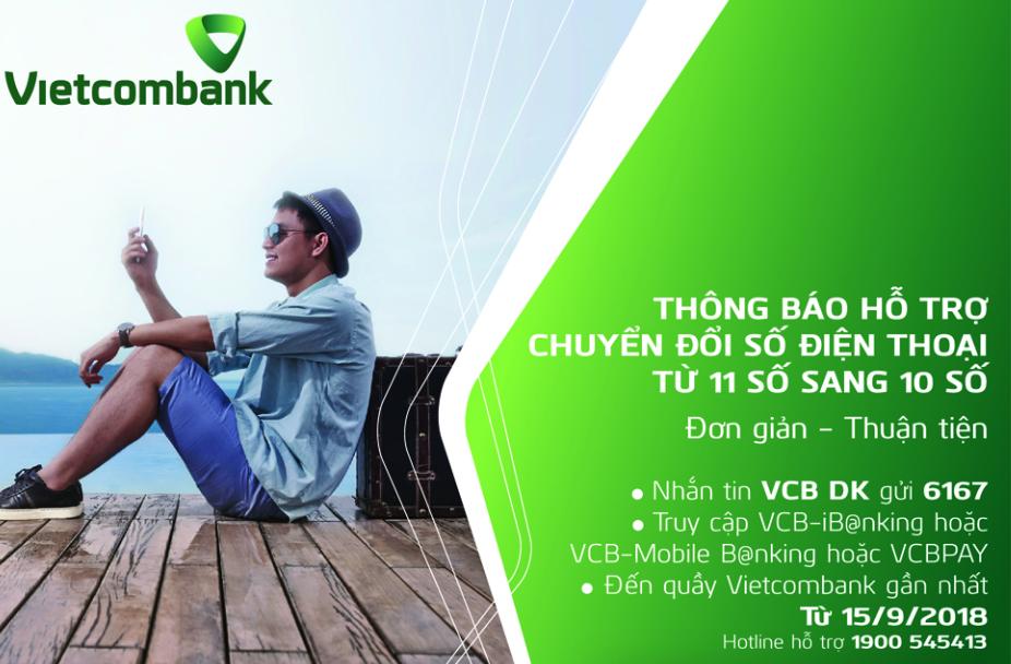 Hướng dẫn đổi số điện thoại SMS Banking Vietcombank từ 11 số về 10 số