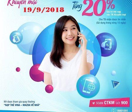 Vinaphone khuyến mãi 20% giá trị thẻ nạp ngày 09/11/2018