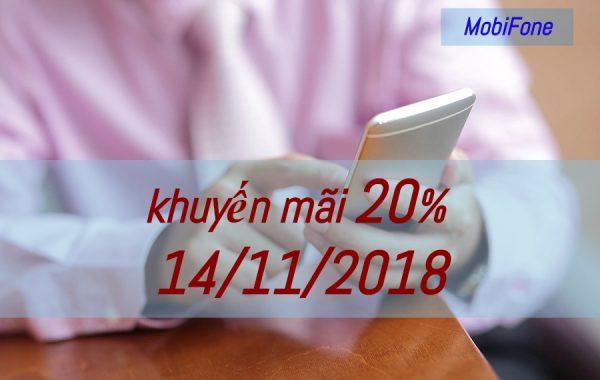 Hôm nay 14/11, MobiFone khuyến mãi 20% giá trị thẻ nạp cho thuê bao trả trước