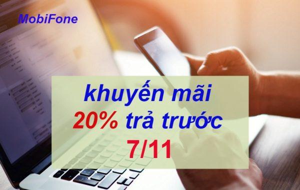 MobiFone khuyến mãi 20% giá trị thẻ nạp cho thuê bao trả trước ngày 7/11