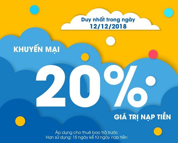 Khuyến mãi ngày vàng thẻ nạp MobiFone ngày 12/12/2018