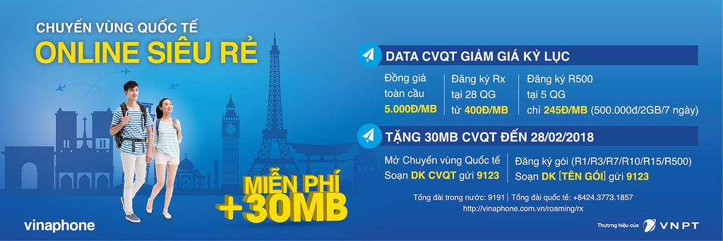 Chương trình giảm cước data roaming tại 170 quốc gia ưu đãi cực sốc