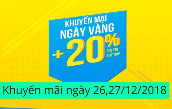 Khuyến mãi ngày vàng thẻ nạp MobiFone ngày 26, 27/12/2018