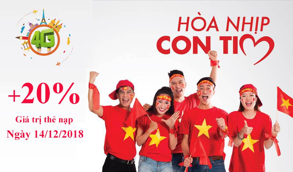 Vui AFF Cup Vinaphone tặng 20% giá trị thẻ nạp ngày 14/12/2018