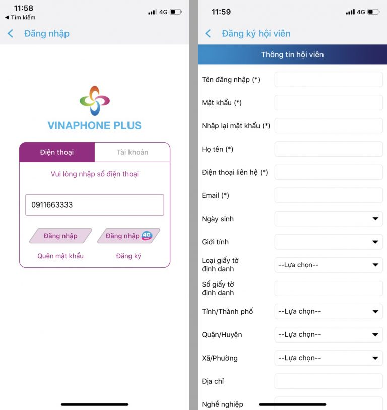 Đăng ký hội viên thông qua ứng dụng Vinaphone Plus