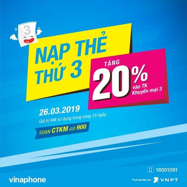 Vinaphone khuyến mãi 20% giá trị thẻ nạp ngày 26/3/2019