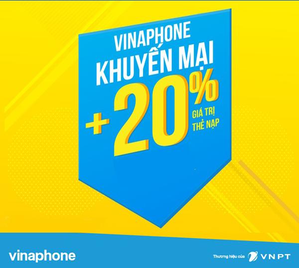 Vinaphone khuyến mãi 20% thẻ nạp trong ngày 26/4/2019