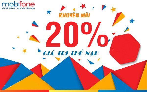 Mobifone khuyến mãi 20% giá trị thẻ nạp ngày 29/05/2019