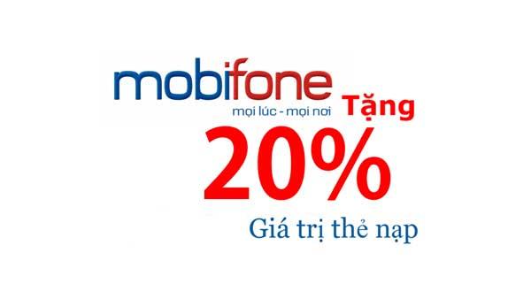 Mobifone khuyến mãi 20% thẻ nạp trong ngày 15/05/2019