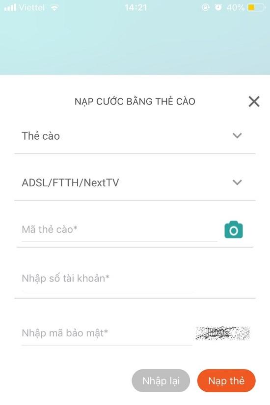 Thanh toán cước Internet Viettel online bằng thẻ cào