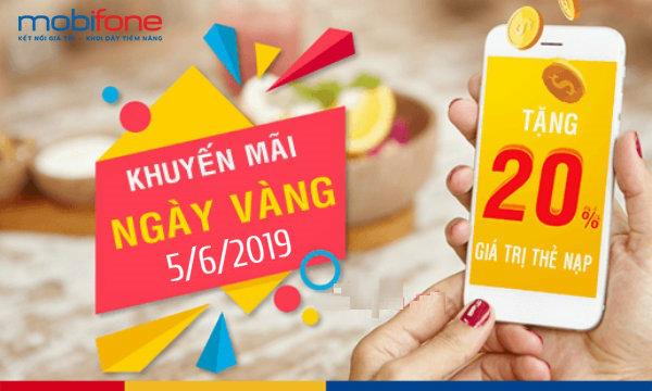 Mobifone khuyến mãi 20% giá trị thẻ nạp ngày vàng 05/06/2019