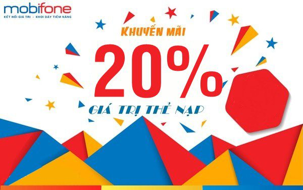 Mobifone khuyến mãi 20% thẻ nạp ngày vàng 19/6/2019