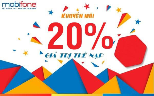 Mobifone khuyến mãi 20% thẻ nạp trên toàn quốc ngày vàng 03/07/2019