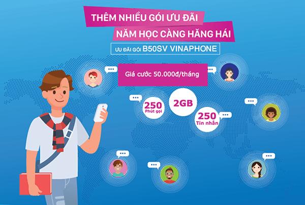 Đăng ký gói B50SV Vinaphone ưu đãi dành cho sinh viên giá chỉ 50.000đ