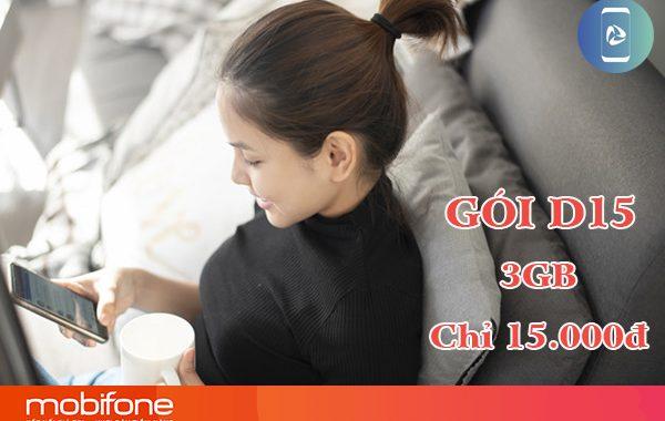 Đăng ký gói D15 Mobifone nhận 3GB DATA trong 3 ngày giá 15.000đ