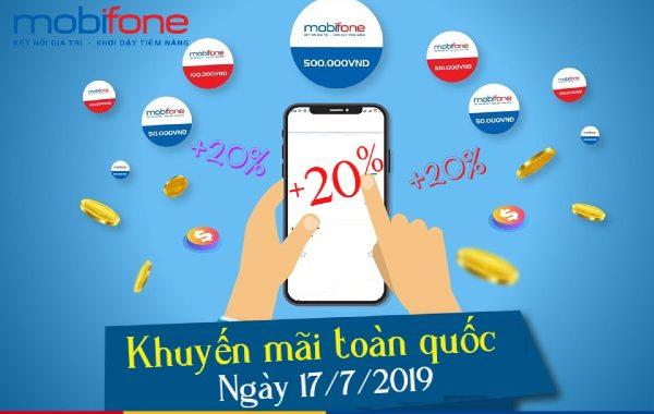 Mobifone khuyến mãi tặng 20% thẻ nạp ngày vàng 17/07/2019