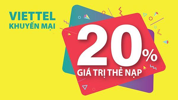 Viettel khuyến mãi 20% thẻ nạp trong ngày 30/08/2019