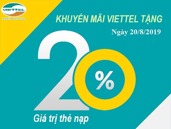 Viettel khuyến mãi tặng 20% giá trị thẻ nạp trong ngày 20/08/2019