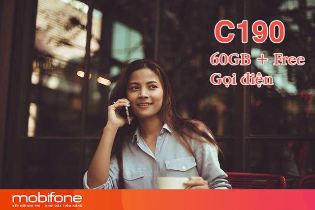 Đăng ký gói C190 Mobifone nhận 60GB và Free gọi điện dưới 10 phút