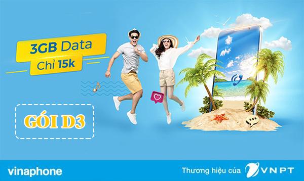 Đăng ký gói D3 Vinaphone nhận 3GB dùng 3 ngày chỉ 15.000đ