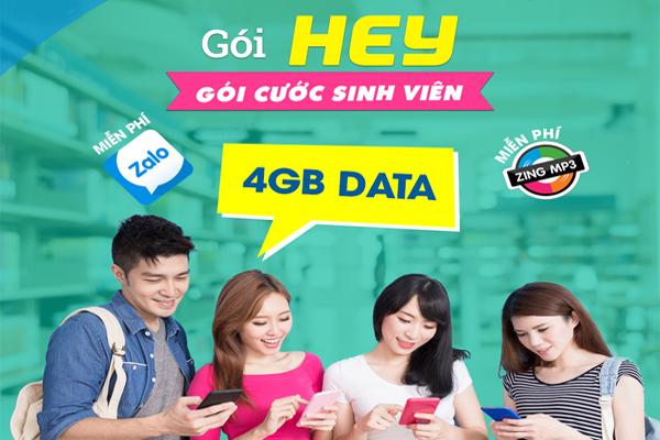 Đăng ký gói HEY Vinaphone nhận 100 phút gọi và 4GB chỉ 50.000đ
