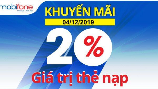 Khuyến mãi Mobifone tặng 20% giá trị thẻ nạp ngày 04/12/2019