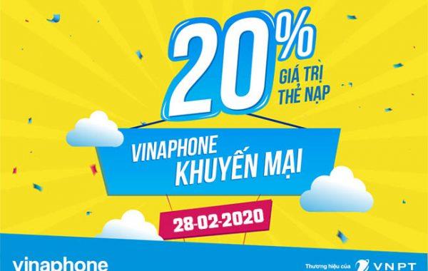 Vinaphone khuyến mãi nạp thẻ trong ngày vàng 28/02/2020