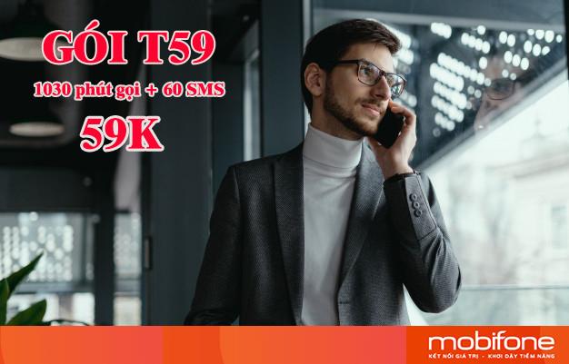 Chỉ 59k đăng ký gói T59 Mobifone nhận 1030 phút gọi và 60 SMS
