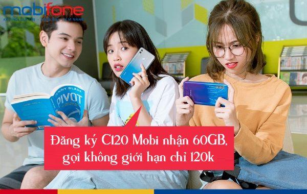 Gói C120 Mobifone ưu đãi 60GB, gọi thoại miễn phí chỉ 120k