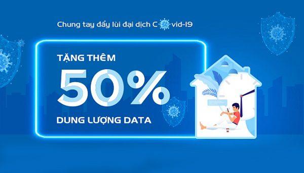 Vinaphone tặng thêm 50% dung lượng data các gói cước